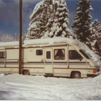 1988 Coachmen Classic 32ft in the Snow