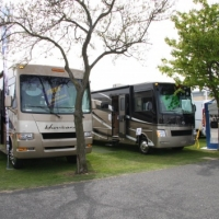 The new Four Winds Hurricane & the new Four Winds Windsport on the TravelWorld RV stand
