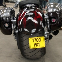 an awesome rear wheel on one of the harley chops
